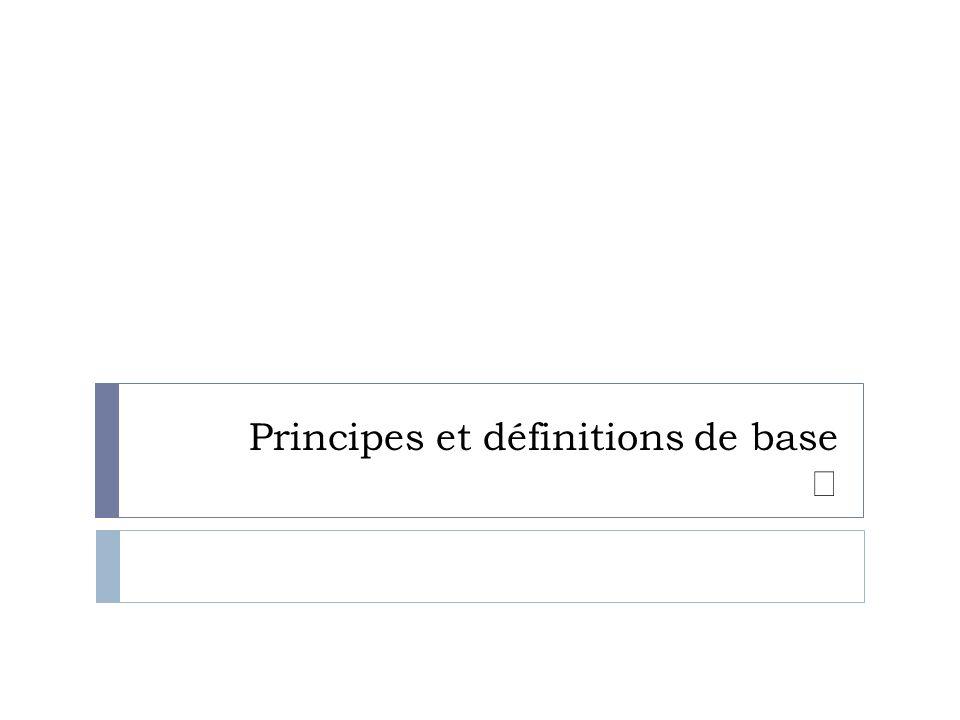 Principes et définitions de base