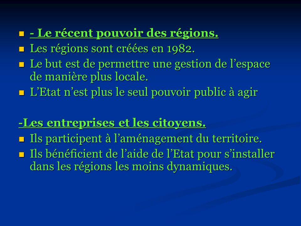 - Le récent pouvoir des régions.