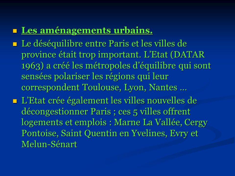 Les aménagements urbains.