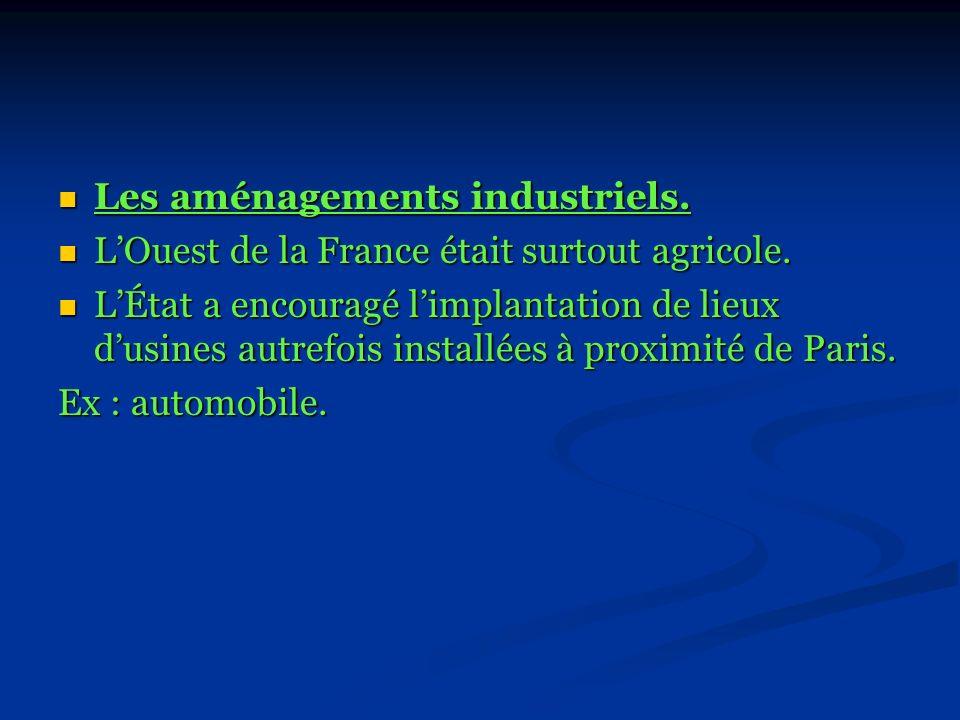 Les aménagements industriels.