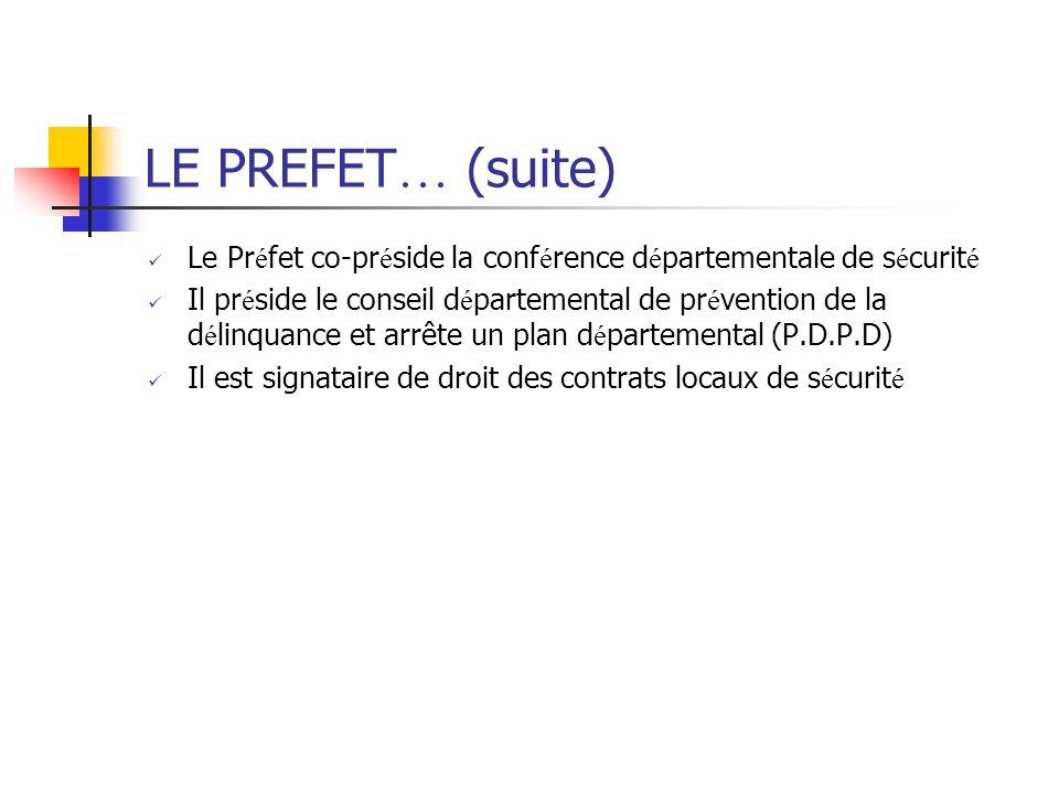 LE PREFET… (suite) Le Préfet co-préside la conférence départementale de sécurité.