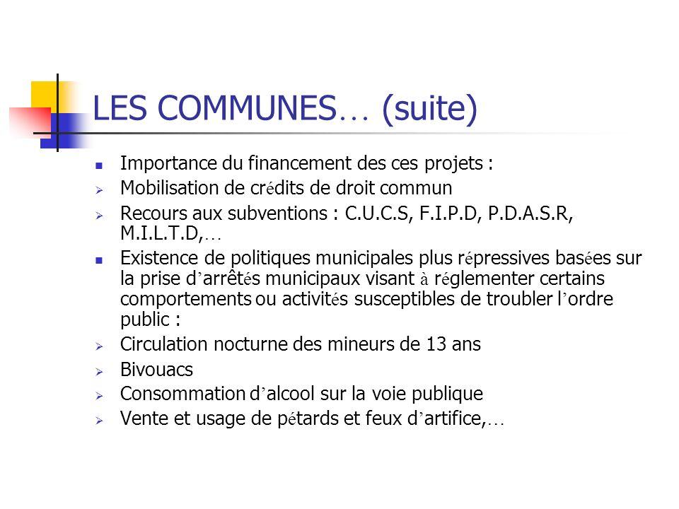 LES COMMUNES… (suite) Importance du financement des ces projets :