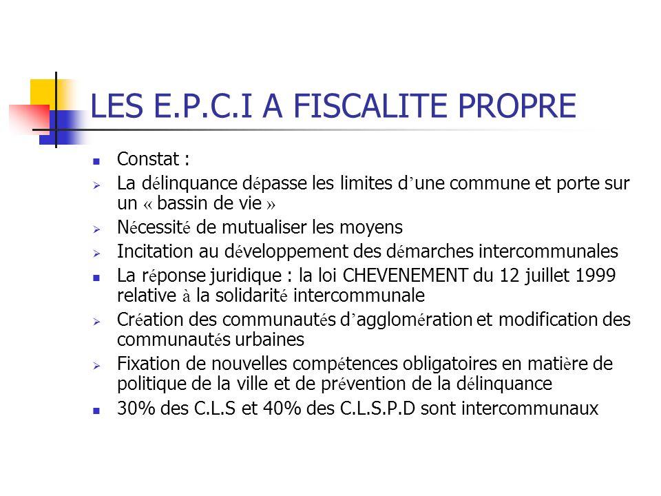 LES E.P.C.I A FISCALITE PROPRE