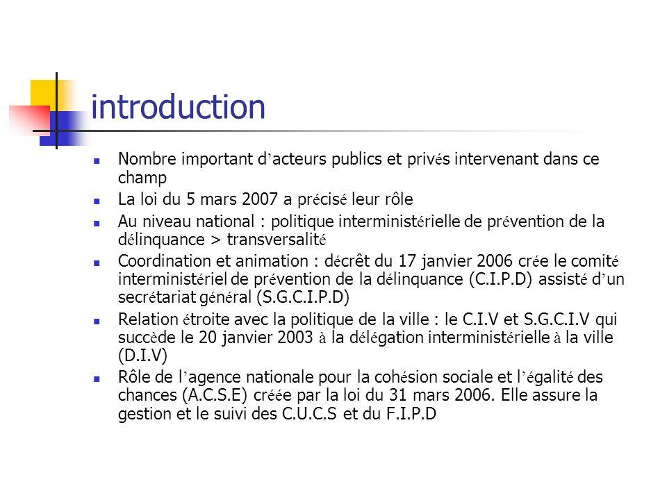 introduction Nombre important d'acteurs publics et privés intervenant dans ce champ. La loi du 5 mars 2007 a précisé leur rôle.