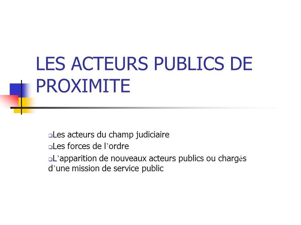LES ACTEURS PUBLICS DE PROXIMITE