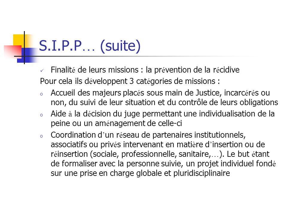 S.I.P.P… (suite) Finalité de leurs missions : la prévention de la récidive. Pour cela ils développent 3 catégories de missions :