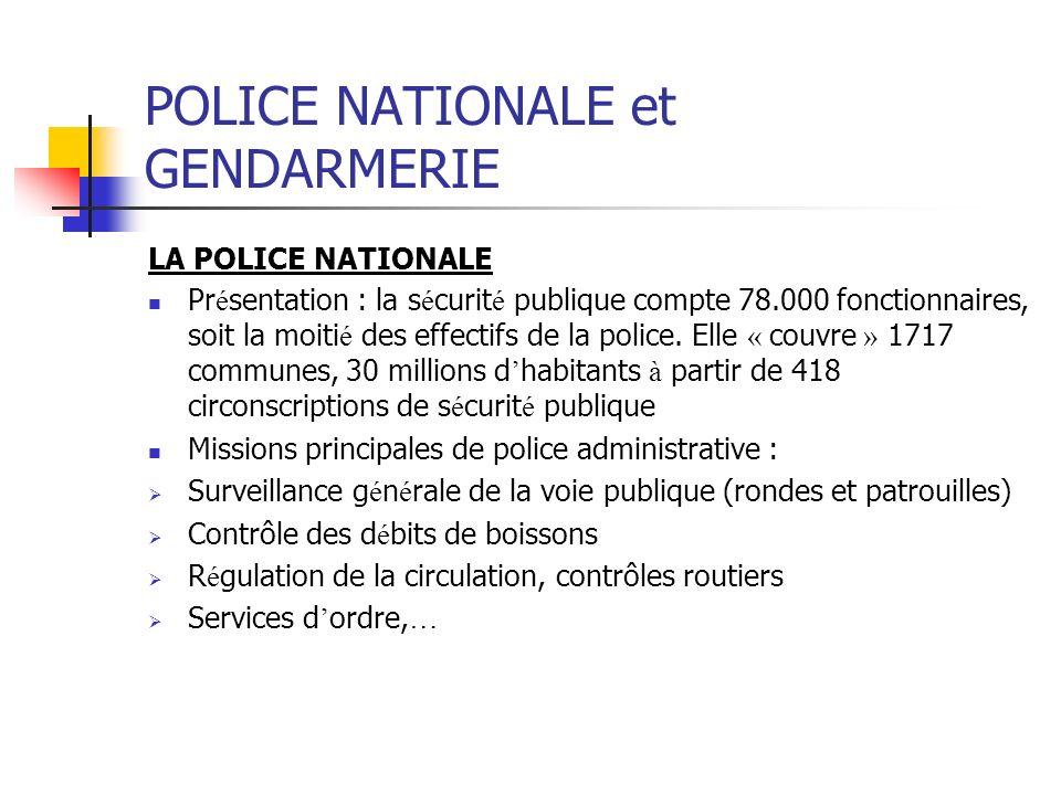 POLICE NATIONALE et GENDARMERIE