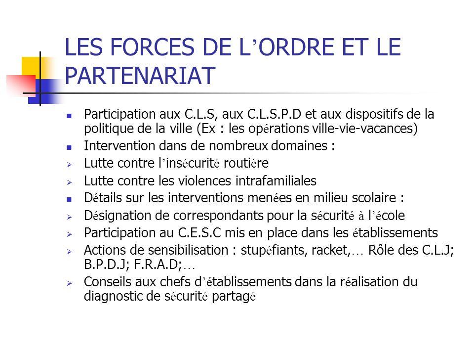LES FORCES DE L'ORDRE ET LE PARTENARIAT