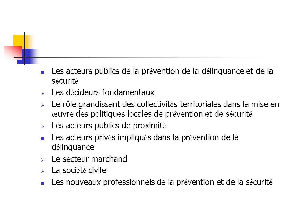 Les acteurs publics de la prévention de la délinquance et de la sécurité
