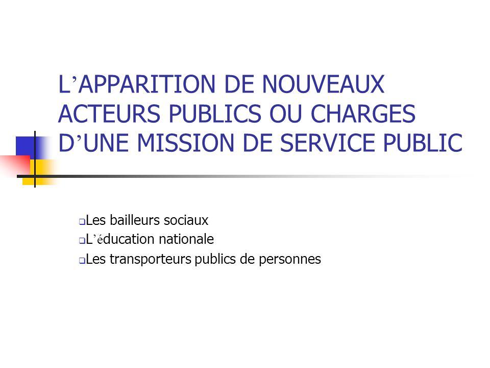 L'APPARITION DE NOUVEAUX ACTEURS PUBLICS OU CHARGES D'UNE MISSION DE SERVICE PUBLIC