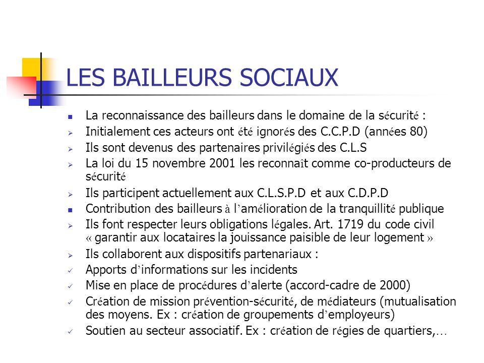 LES BAILLEURS SOCIAUX La reconnaissance des bailleurs dans le domaine de la sécurité :