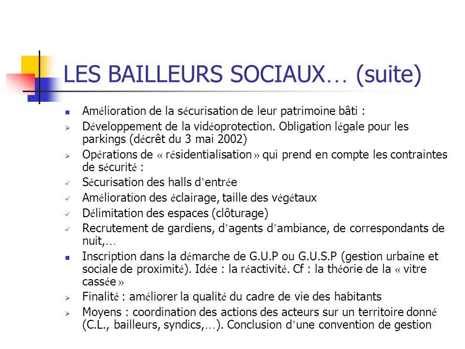 LES BAILLEURS SOCIAUX… (suite)