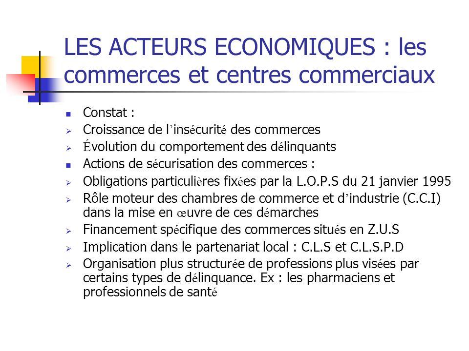 LES ACTEURS ECONOMIQUES : les commerces et centres commerciaux