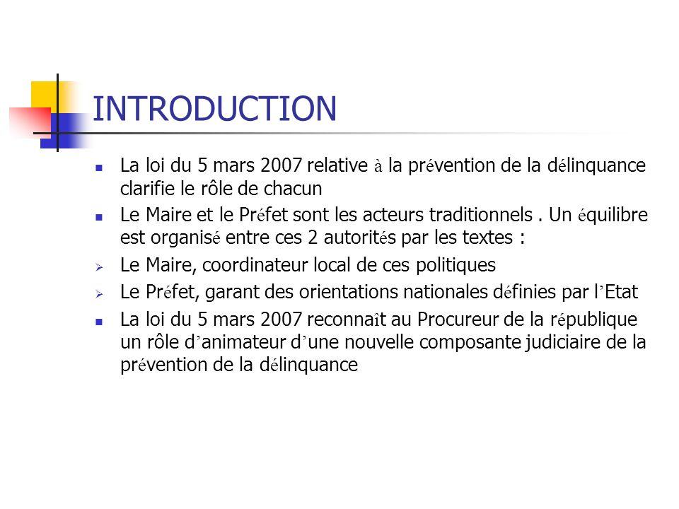 INTRODUCTION La loi du 5 mars 2007 relative à la prévention de la délinquance clarifie le rôle de chacun.