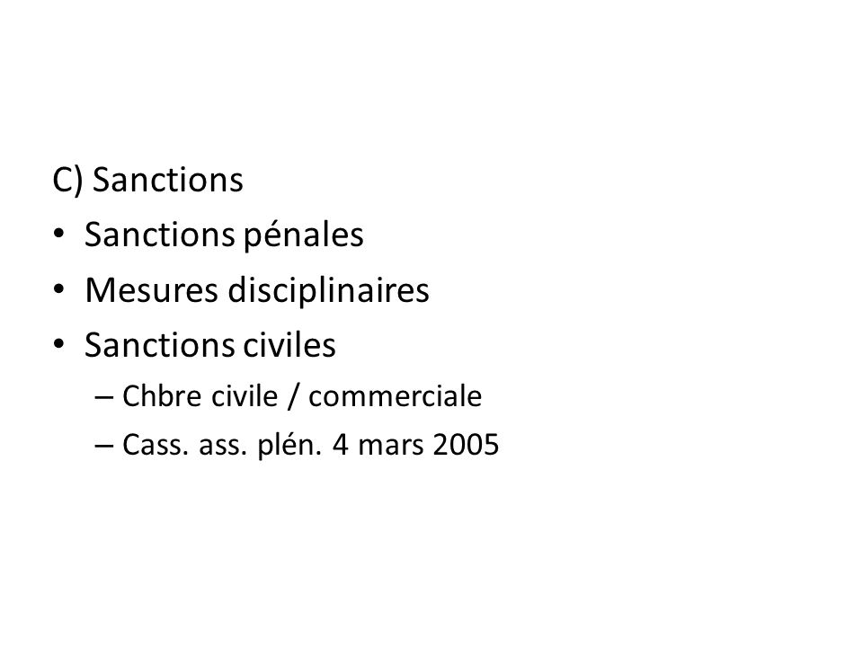 Mesures disciplinaires Sanctions civiles