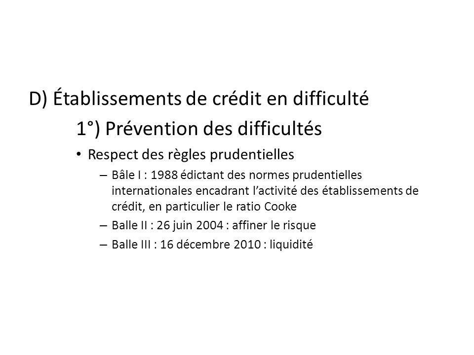 D) Établissements de crédit en difficulté