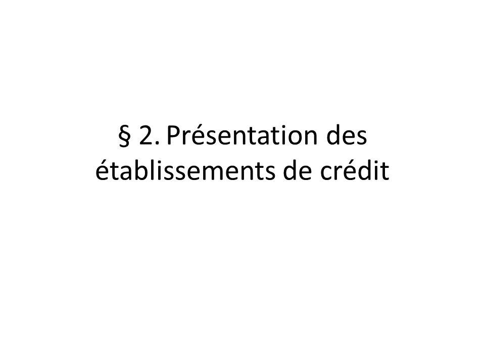 § 2. Présentation des établissements de crédit