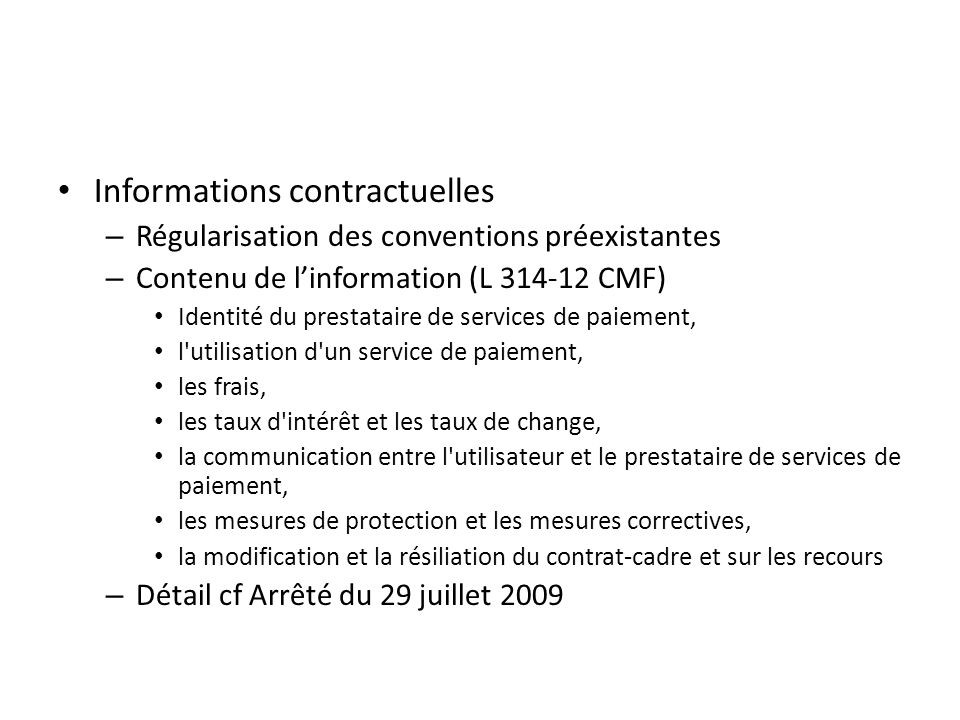 Informations contractuelles
