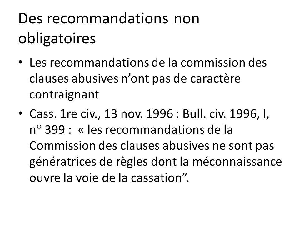 Des recommandations non obligatoires