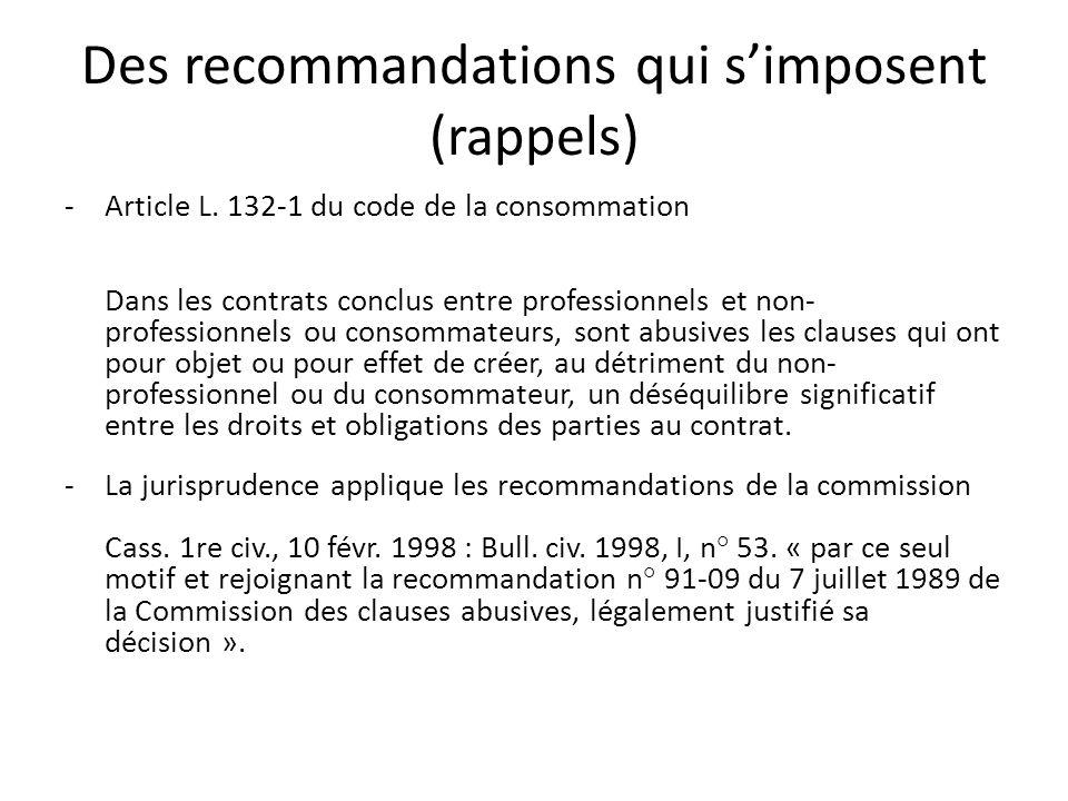 Des recommandations qui s'imposent (rappels)