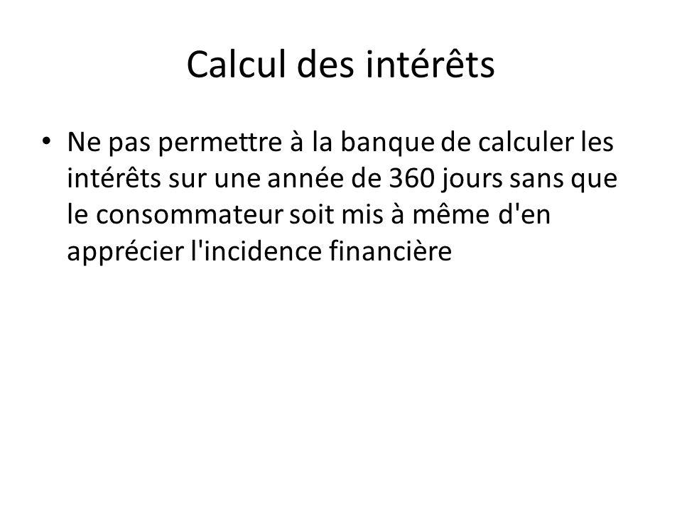Calcul des intérêts