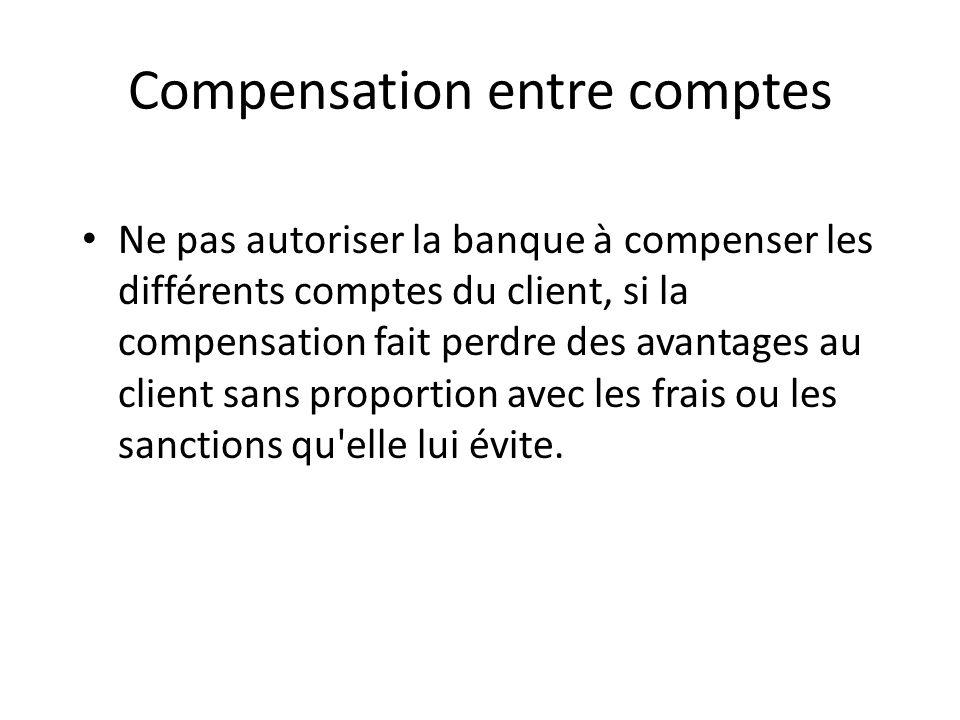 Compensation entre comptes