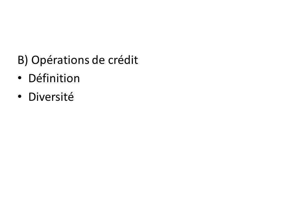 B) Opérations de crédit