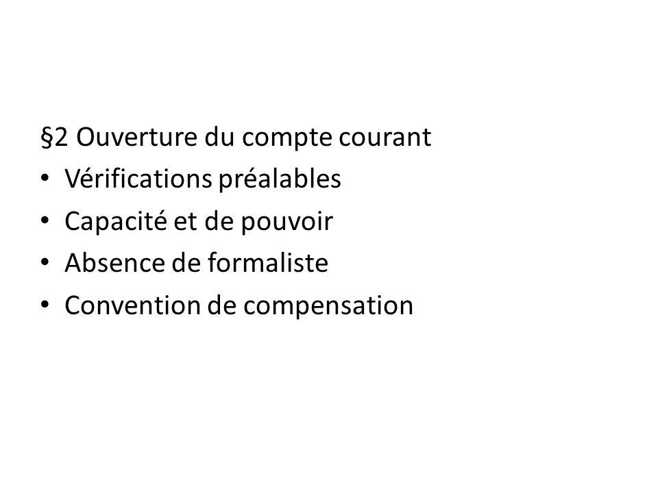 §2 Ouverture du compte courant