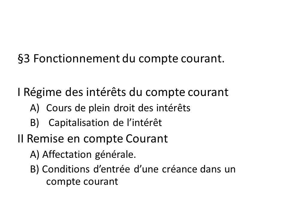 §3 Fonctionnement du compte courant.