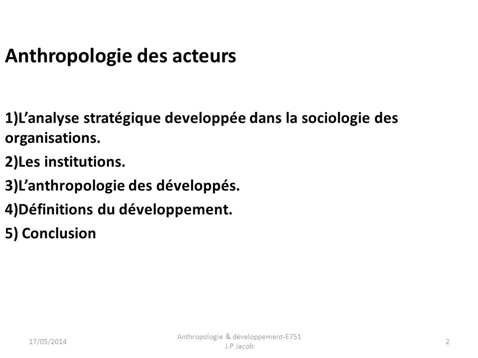 Anthropologie & développement-E751 J.P Jacob