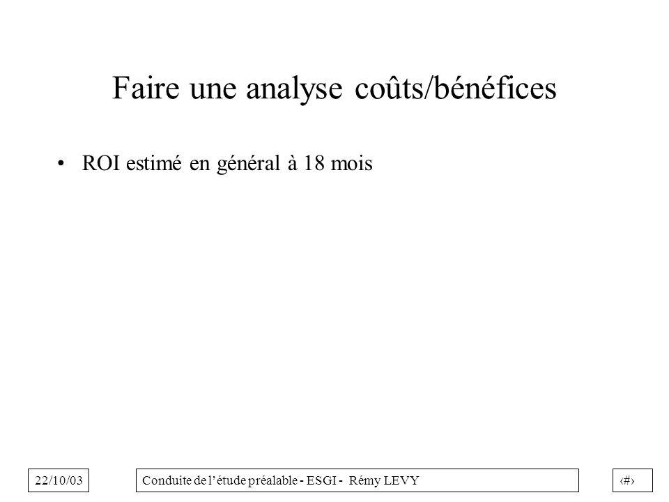 Faire une analyse coûts/bénéfices