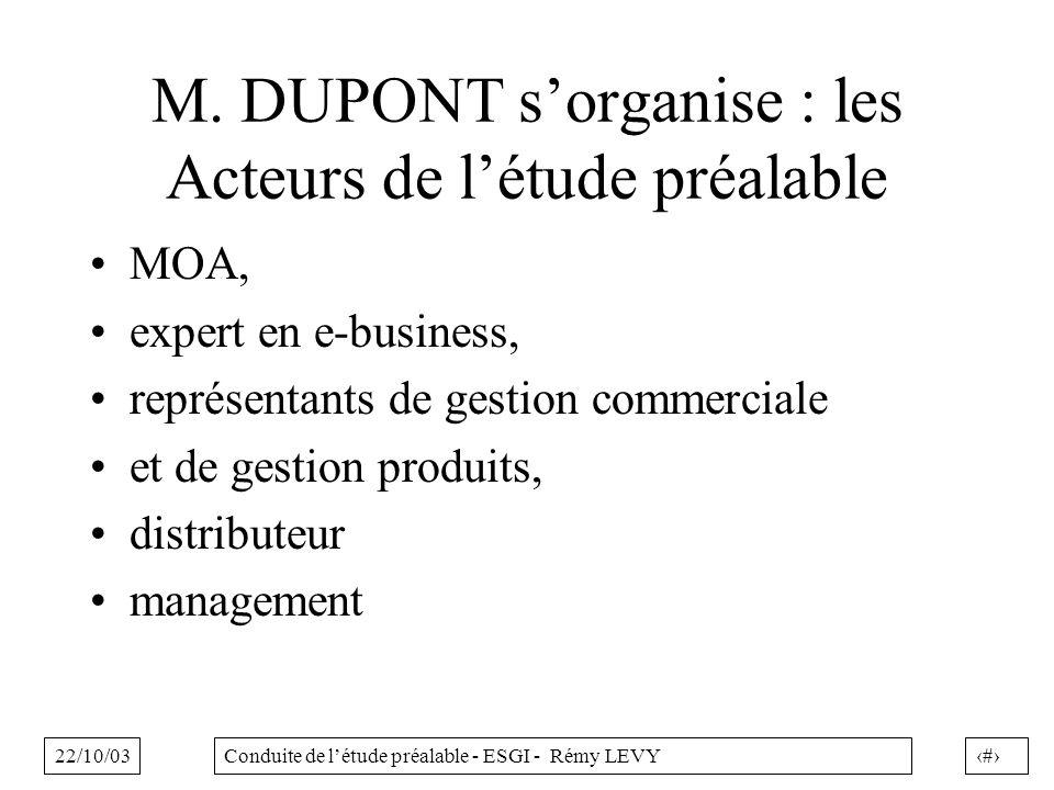 M. DUPONT s'organise : les Acteurs de l'étude préalable