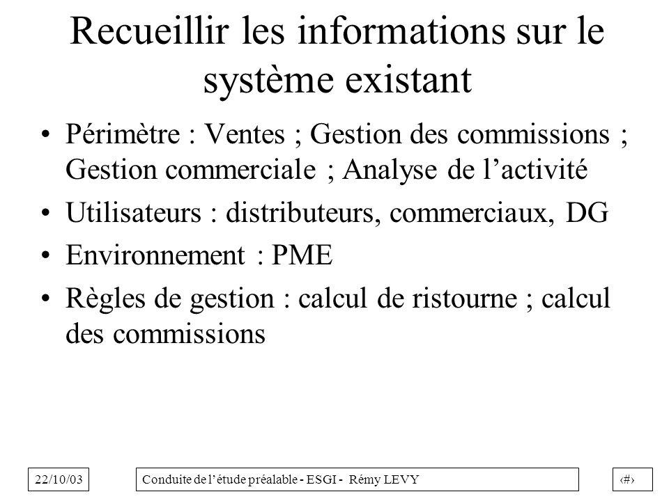 Recueillir les informations sur le système existant