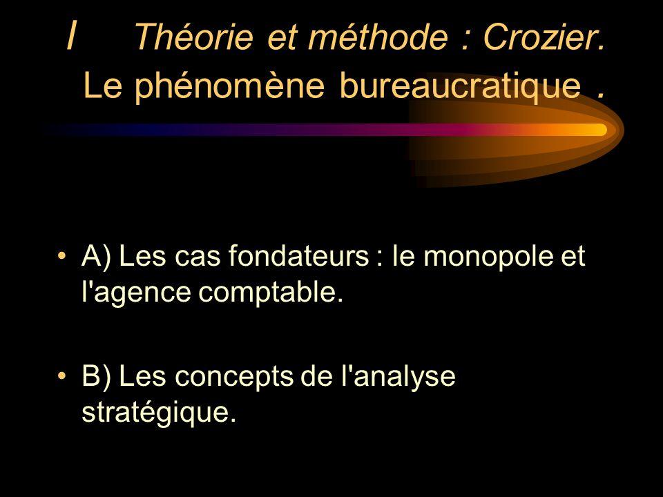 I Théorie et méthode : Crozier. Le phénomène bureaucratique .