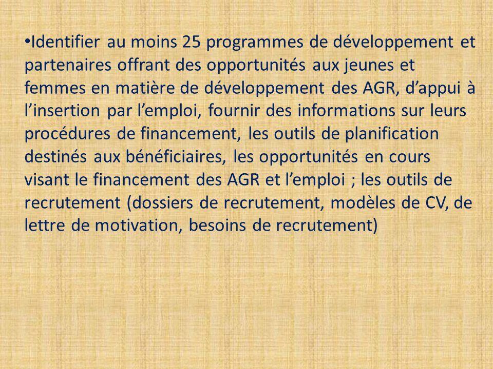 Identifier au moins 25 programmes de développement et partenaires offrant des opportunités aux jeunes et femmes en matière de développement des AGR, d'appui à l'insertion par l'emploi, fournir des informations sur leurs procédures de financement, les outils de planification destinés aux bénéficiaires, les opportunités en cours visant le financement des AGR et l'emploi ; les outils de recrutement (dossiers de recrutement, modèles de CV, de lettre de motivation, besoins de recrutement)