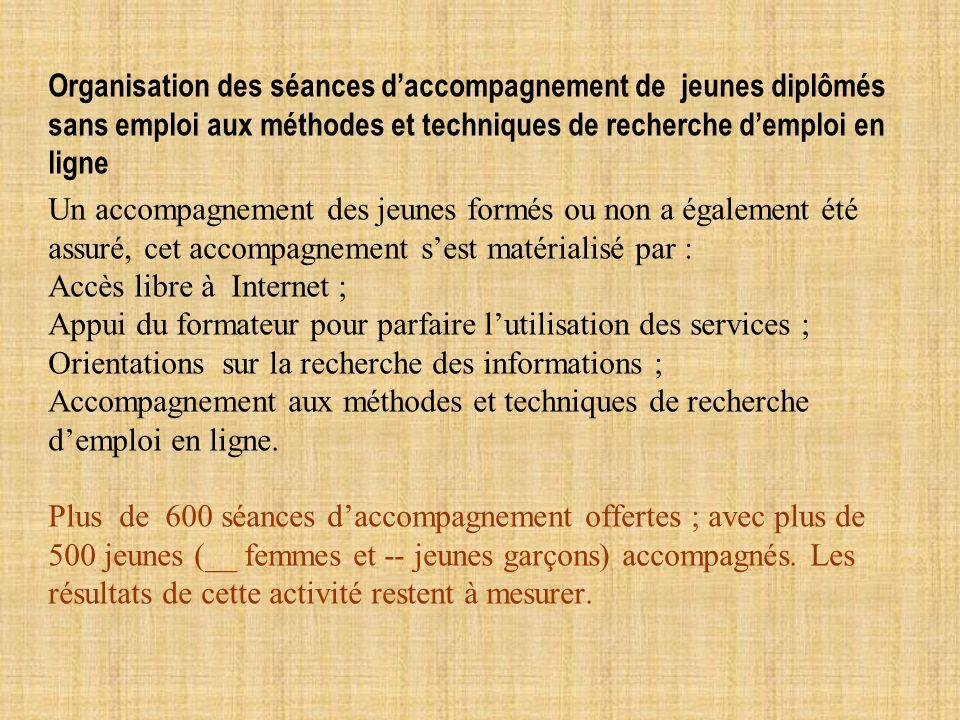 Organisation des séances d'accompagnement de jeunes diplômés sans emploi aux méthodes et techniques de recherche d'emploi en ligne