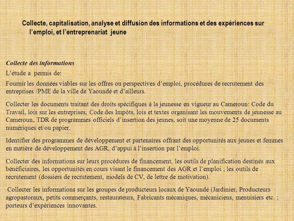 Collecte, capitalisation, analyse et diffusion des informations et des expériences sur l'emploi, et l'entreprenariat jeune