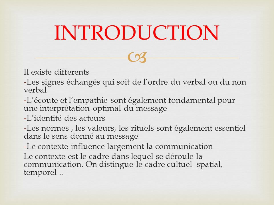 INTRODUCTION Il existe differents