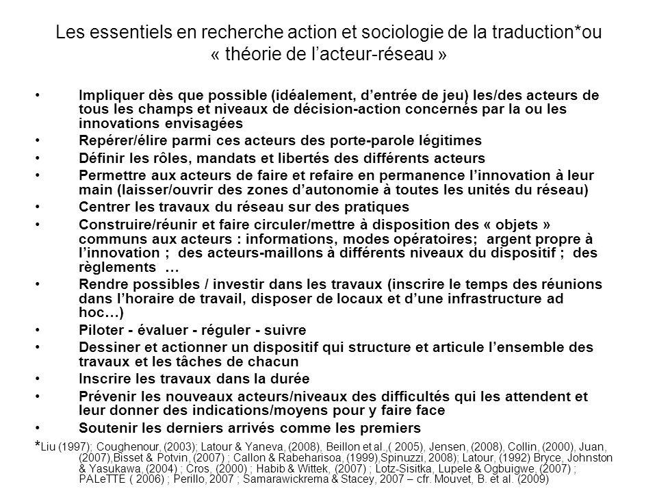 Les essentiels en recherche action et sociologie de la traduction