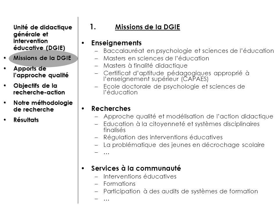 1. Missions de la DGIE Enseignements Recherches