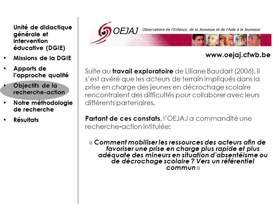 www.oejaj.cfwb.be Suite au travail exploratoire de Liliane Baudart (2006), il. s'est avéré que les acteurs de terrain impliqués dans la.