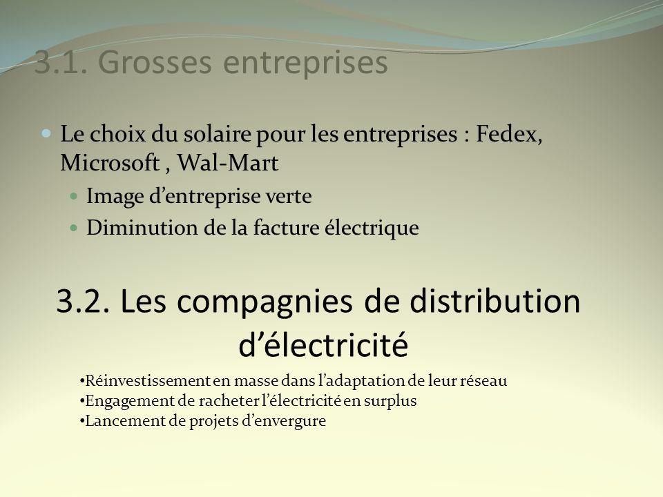 3.2. Les compagnies de distribution