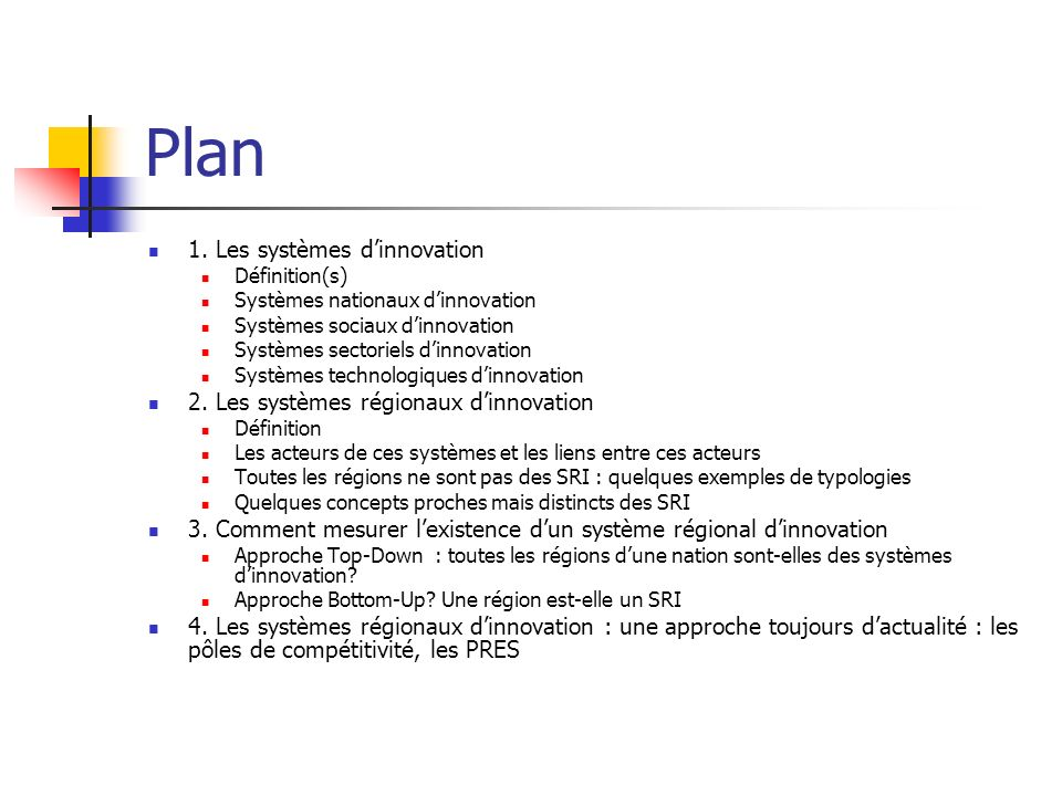 Plan 1. Les systèmes d'innovation
