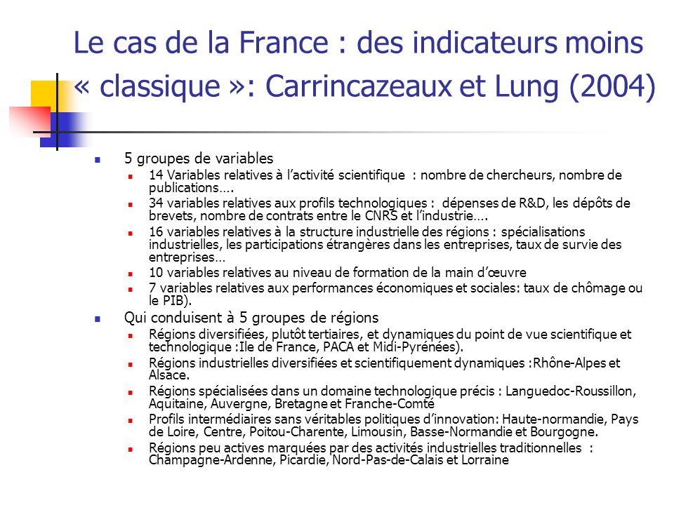 Le cas de la France : des indicateurs moins « classique »: Carrincazeaux et Lung (2004)