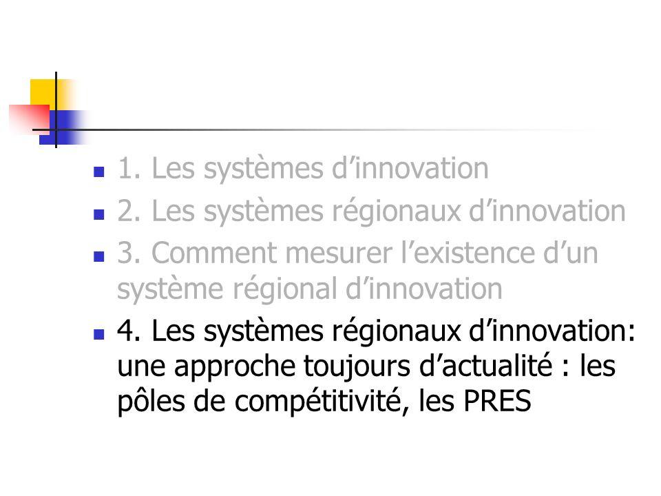 1. Les systèmes d'innovation