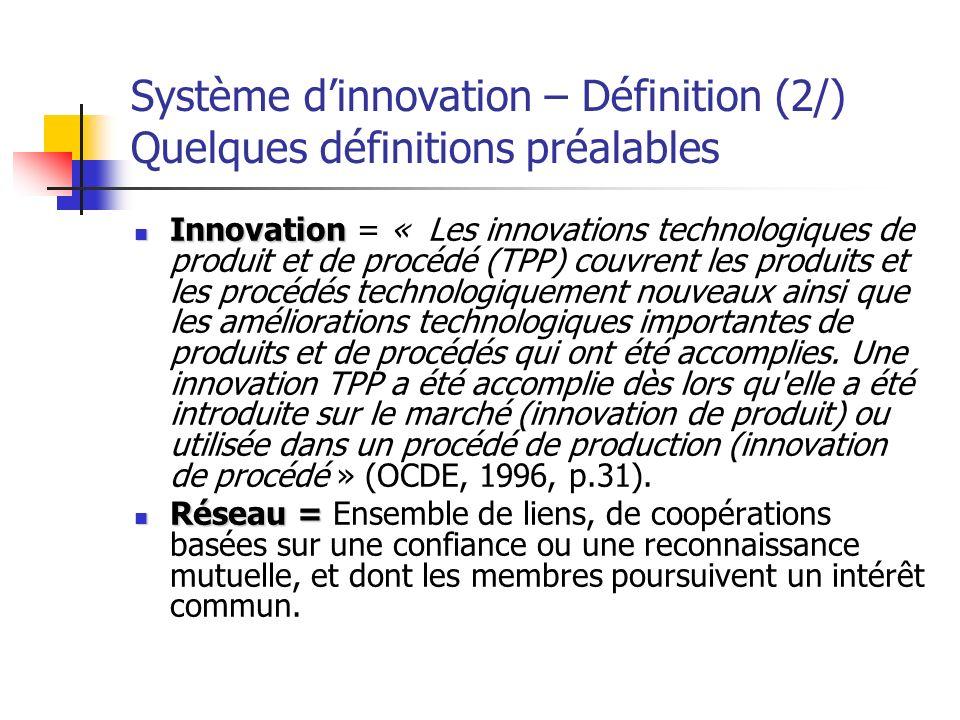 Système d'innovation – Définition (2/) Quelques définitions préalables