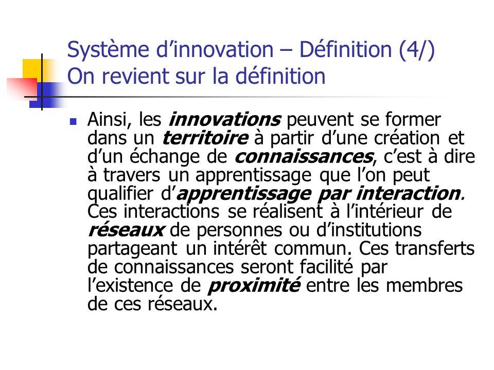Système d'innovation – Définition (4/) On revient sur la définition
