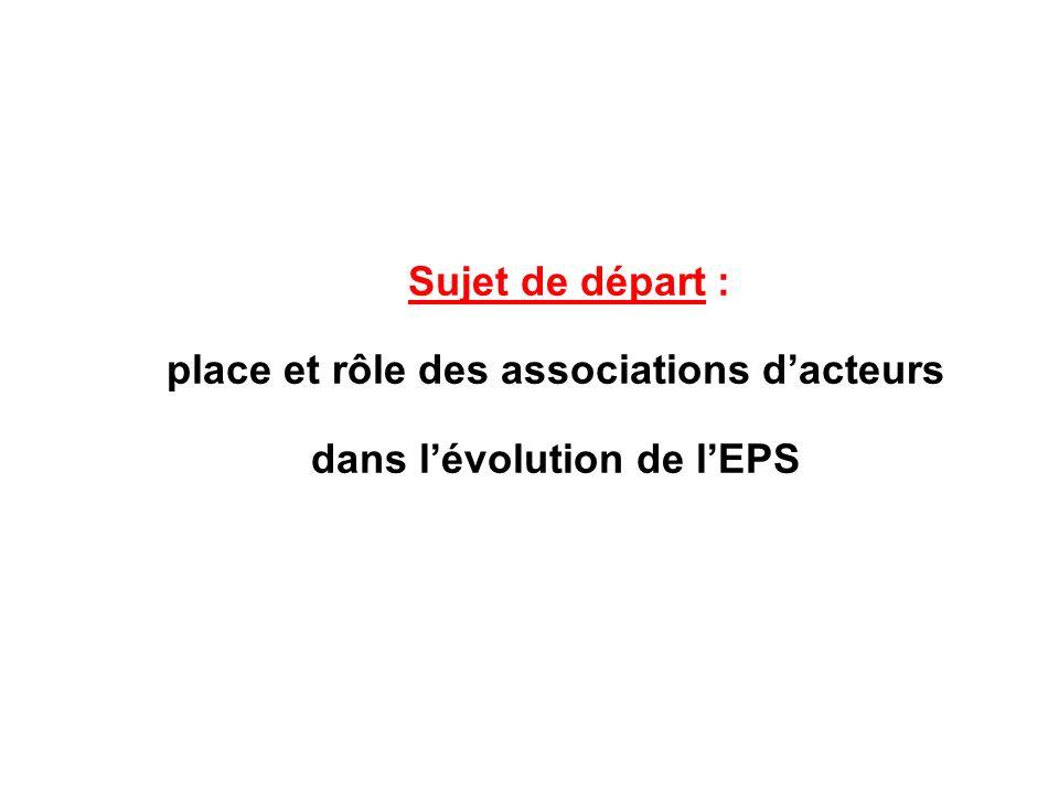 place et rôle des associations d'acteurs dans l'évolution de l'EPS