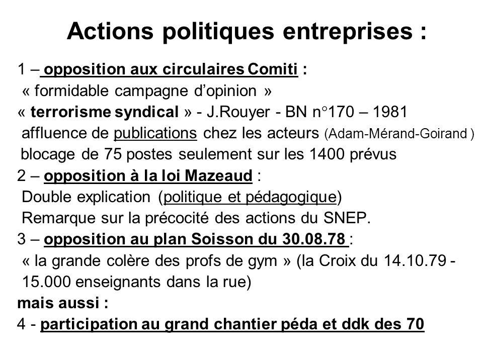Actions politiques entreprises :