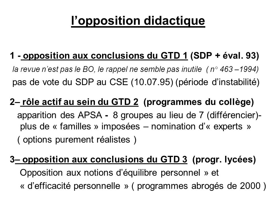l'opposition didactique